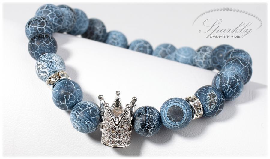 Ručně vyrobený dámský náramek Fifty Shades Queen je elegantní souhra dračího achátu a zirkonové koru